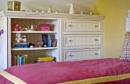 Amazing Built In Bedroom Furniture Designs : Cool Farmhouse Kids Built In Bedroom Furniture Designs Custom Built For This Space White Furniture And Yellow And Pink Clean And Warm Look
