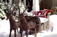 Front Porch Christmas Decorating Ideas : Cool Front Porch Outdoor Christmas Decoration With Inspiring Rattan Reindeer And Red White Cushions Ideas