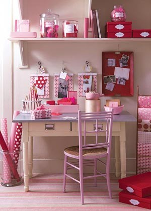 Colorful Home Office Design Ideas: Cool Fun Pink Themed Home Office With Simple Desks With Chairs And Hanging Bookshelves And Pink Marble Floors