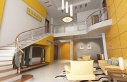 Sunny Yellow Paint Colors Make Your Living Room Feels Warm : Cool Gray Brown Yellow Living Room Interior Design Ideas With