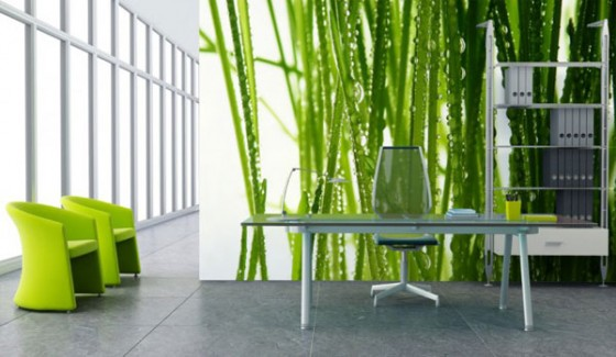 Wall Decal For Interior Decoration Ideas: Cool Green Theme Modern Workspace Interior Decor With Cool Grass Wall Decal And Modern Green Chair Ideas ~ stevenwardhair.com Wall Decor Inspiration