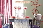 Christmas Decorations Ideas: Dinner Table Decorations : Cool Holiday Lavender Wooden Dining Table And Chairs Decorations Ideas With Red Dinner Set And Wine Glass On Embroidered Tablecloth And Red Light Wall Decor Beside Red White Stripe Curtain