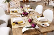 Christmas Decorations Ideas: Dinner Table Decorations : Cool Holiday Rustic Wood Dining Table Decoration With White Dinner Set On Light Brown Tablecloth And Modern Chair On Wooden Laminated Flooring Ideas In Ecletic Interior Design