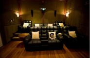 Home Theater Room Planning Ideas : Cool Home Theater Design With Black Leather Sofas Cushion Coffee Table Wooden Flooring Wall Ideas