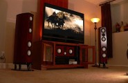 Home Theater Room Planning Ideas : Cool Home Theater Room Cabinet With Cool Speakers Arch Lamps Design Ideas