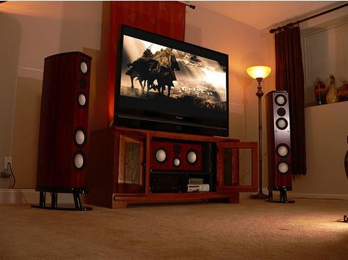 Home Theater Room Planning Ideas: Cool Home Theater Room Cabinet With Cool Speakers Arch Lamps Design Ideas