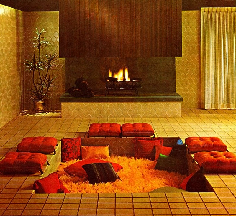 Awesome Indoor Pits Design : Cool Indoor Pit Design With Red Cushions And Orange Fur Rug Inside With Contemporary Fireplace And Indoor Plant In Gold Theme Living Room