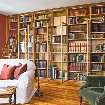 Miscellaneous High End Bookshelves Design: Cool Inexpensive Versatile And Perfect Sophisticated Library High End Book Shelf With Doors Were Outfitted With Trim To Give Them A Built In Look