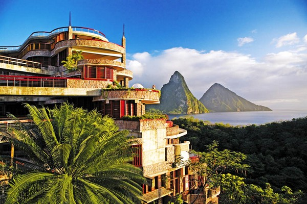 Inspiring Infinity Pool Ideas: Jade Mountain Resort Private Infinity Pool Design: Cool Jade Mountain Resort Exterior Design With St Lucias Stunning Scenic Beauty