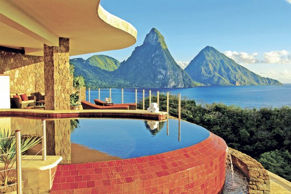 Inspiring Infinity Pool Ideas: Jade Mountain Resort Private Infinity Pool Design: Cool Jade Mountain Resort Red Color Mosaic Glass Private Infinity Pool With Lounge And Gorgeous St Lucias Scenic Beauty View