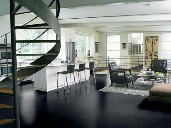 Chairs Cool Kitchen Black Tile Flooring Design With White Cabinetry