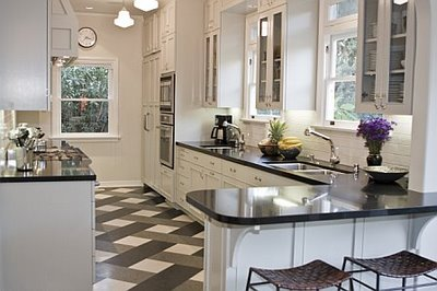 Kitchen Tile Flooring Designs Ideas : Cool Kitchen Tile Flooring Design With Marble Countertop Cabinetry Lamps Chairs Ideas