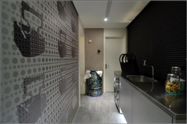 Urban Live-In Kitchen Concept : Cool Live In Kitchen Entrance Decoration With Stunning Wall Decal And Urban Work Arts