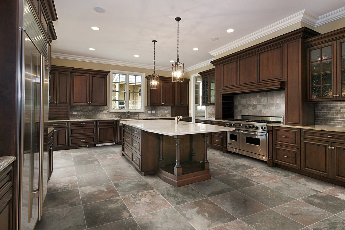 Chairs: Cool Luxury Kitchen Slate Tile Flooring Design With ...
