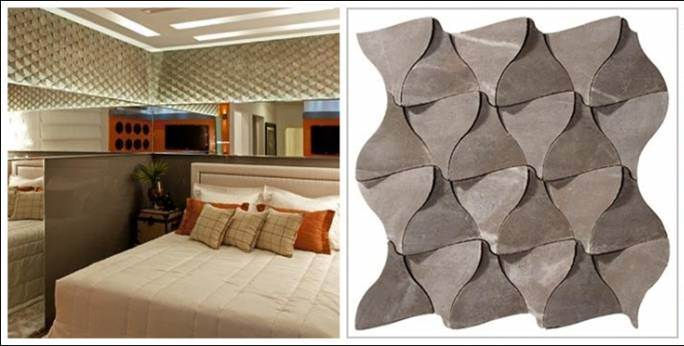 3D Wall Tile Design Ideas For New Dimension Of Wall Decor: Cool Magical Texture 3D Marble Wall Tile That Called Mosarte In Mirror Wall Bedroom Design With King Size Bed And Pillow