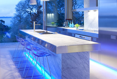 Unique And Innovative Kitchen Concepts Ideas: Cool Marble Kitchen Island Concept In Inspiring Blue Scheme Modern Kitchen Design With Stainless Steel Cabinet And Transparent Barstools With Cool Lighting System