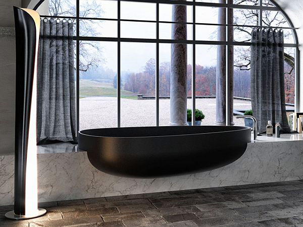 Minimalist And Elegant Modern Bathtub Design By Danelon And Meroni: Cool Minimalist And Elegant Black Modern Bathtub Design On Marble Countertop In Front Of Lage Glass Window Curtain In Slate Tile Flooring Bathroom