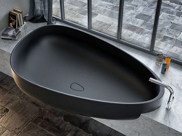 Minimalist And Elegant Modern Bathtub Design By Danelon And Meroni: Cool Minimalist And Elegant Black Modern Egg Like Shaped Bathtub Design By Claudia Danelon And Federico Meroni On Marble Countertop Ideas