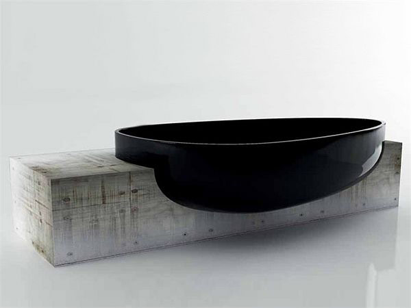 Minimalist And Elegant Modern Bathtub Design By Danelon And Meroni: Cool Minimalist Glossy Black Modern Egg Like Shape Bathtub Design Monolith Block By Claudia Danelon And Federico Unique Polystyrene Bathub