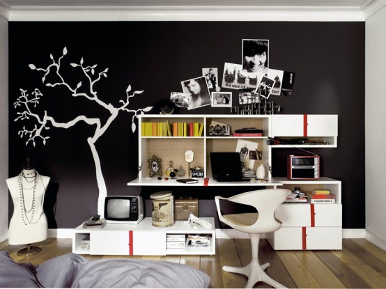 Modern Furniture for Cool Youth Bedroom Design : Cool Modern Furniture For Youth Bedroom Design A Shocking Colour And Arranging Furniture And Wall Storage Ideas And Organization Furniture Design