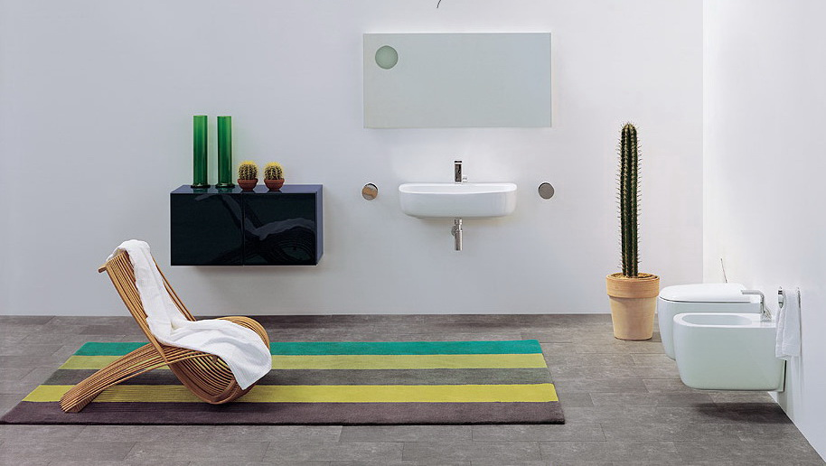 Modern and Unique Bathrooms Design from Flaminia : Cool Modern Grey Slate Tile Floor Bathroom Interior Design With Unique Wooden Chair On Three Color Stripes Mat And Indoor Plant And Vanities Idea