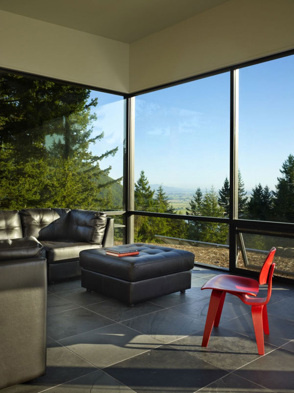 Chuckanut Ridge House: An Elegant Design Asian Influences And Self Sustainable Housing: Cool Modern Living Room Design With Black Leather Sofa Unique Chair Large Glass Wall Window And Tile Flooring Ideas