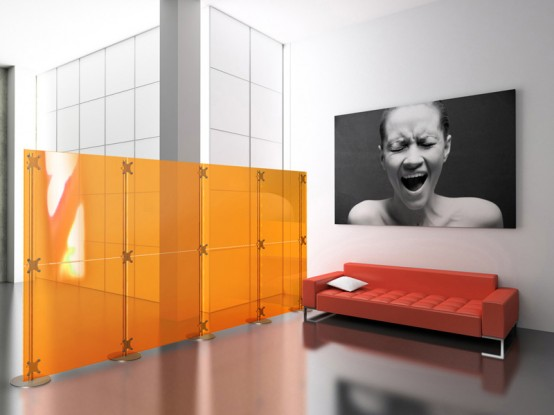 Glass And Metal Modern Room Dividers Ideas: Cool Modern Room Dividers Fluowall With Yellow Colored Glass Partitions Will Help You To Organize Your Living Space And Beatiful Bed And Bright Light ~ stevenwardhair.com Bedroom Design Inspiration