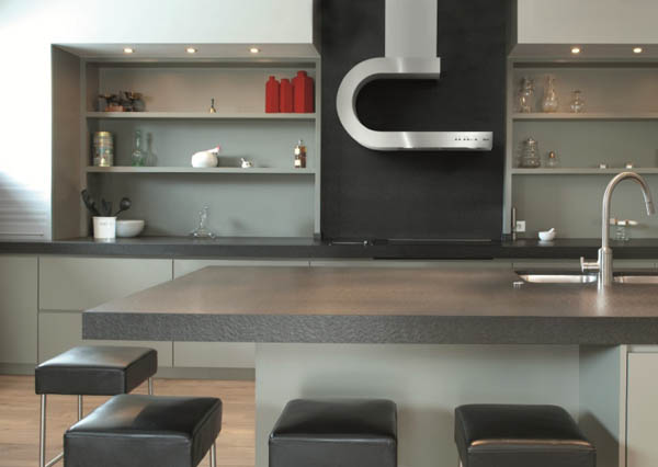 Modern Embedded Kitchen Hoods Design Ideas : Cool Modern Wall Mounted Hoods Its Called Shelf And Modern Kitchen Cabinet And Kitchen Island Design Ideas