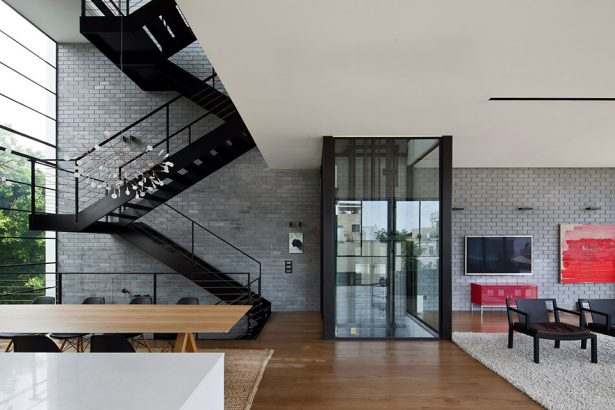Large Glass Wall Home Living With Rooftop Swimming Pool Design Ideas: Cool Neat Open Space Ground Floor Interior Design With Lift Black Steel Stairs Large Glass Wall Dining Table Chair Brick Wall Decor Rug Wooden Flooring Ideas ~ stevenwardhair.com Chairs Inspiration