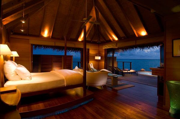 Inspiring Ocean View Bedroom Design Ideas: Cool Ocean View Bedroom Interior Decor With Inspiring Lighting And Bed Sofa Lamps Folding Glass Door Ceiling Fan Wooden Flooring And Lounge On Terrace Ideas