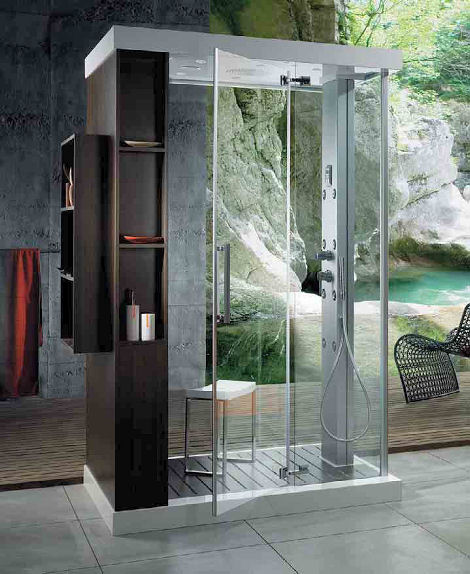 Open Shower Bathroom Design Ideas : Cool Open Shower Bathroom Design With Shelves Chair Towel Hanger Tile Flooring Backyard View Ideas