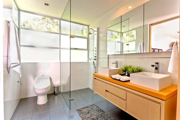Eye Catching Ideas Captured in Vibrant Home Interior Design: Cool Open Shower Bathroom Trendy Home Interior Design With Vessel Sink Cabinet And Wide Mirror With Mat Glass Wall And Tile Flooring Ideas