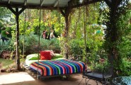 Breathtaking Relaxing Outdoor Hanging Bed Design Ideas : Cool Outdoor Bed With Relaxing Cozy Outdoor Hanging Bed With Thick Soft Bedding And Fun Colorful Stripe Bed Sheet In A Rustic Country Porch
