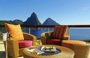 Inspiring Infinity Pool Ideas: Jade Mountain Resort Private Infinity Pool Design : Cool Outdoor Space Design With Rattan Chairs Cushions Round Table Railing And Jade Mountain St Lucias Stunning Scenic Beauty View