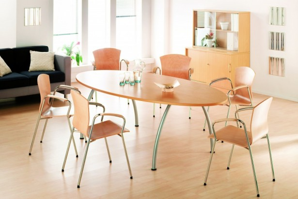 Various Awesome Conference Table Design: Cool Oval Shape Wood Top With Steel Legs Modern Conference Table Set Design Idea ~ stevenwardhair.com Furniture Inspiration
