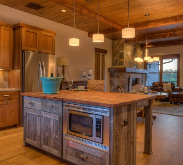 Fabulous Of Reclaimed Wood Kitchen Cabinets: Cool Reclaimed Wood Modern Kitchen Interior Design With Cabinetry And Counter Tops And Island Tops And Reclaimed Beamed Ceilings With Old Floorboards Fireplace Lamps Sofa Ideas