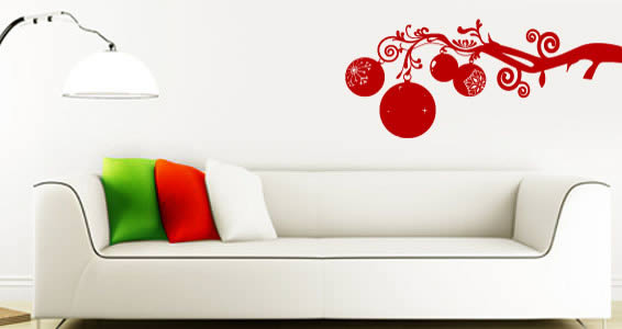 All Kind Of Christmas Holiday Wall Decals : Cool Red Branche Wall Decal And White Leather Sofa With Italian Color Flag Pillow