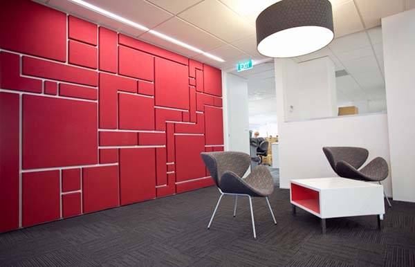Awesome Padded Wall Panel Design As A Wall Decor Ideas: Cool Red Color Padded Wall Panels With Chair Table And Oversized Pendant Light With Grey Wooden Flooring Ideas