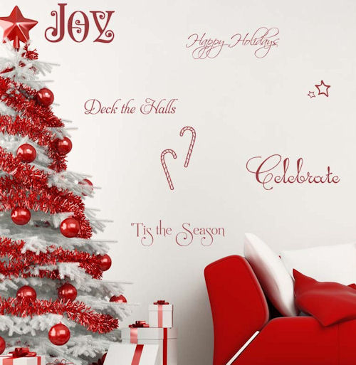 All Kind Of Christmas Holiday Wall Decals : Cool Red White Christmas Wall Decal Collection