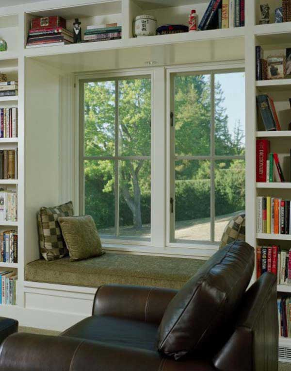 Picture Of Bay And Backyard View Windows: Cool Room With Backyard View Window Seats Cushions Book Shelves Downlight Lamp Ideas