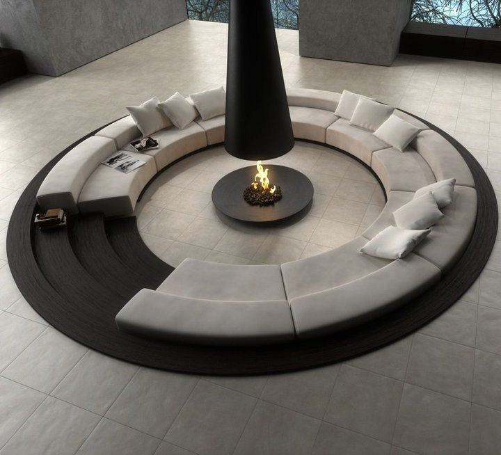 Awesome Indoor Pits Design : Cool Round Shape Indoor Conversation Pits Design With White Round Sectional Sofa And Black Modern Fireplace Inside