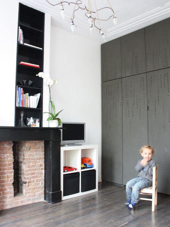Great Designs For Built In Excellent Wardrobes: Cool Rustic Family Room Designs For Built In Wardrobes With White Paint Wall Black High Bookshelves Cubbies Cabinet With Shelves For Toys