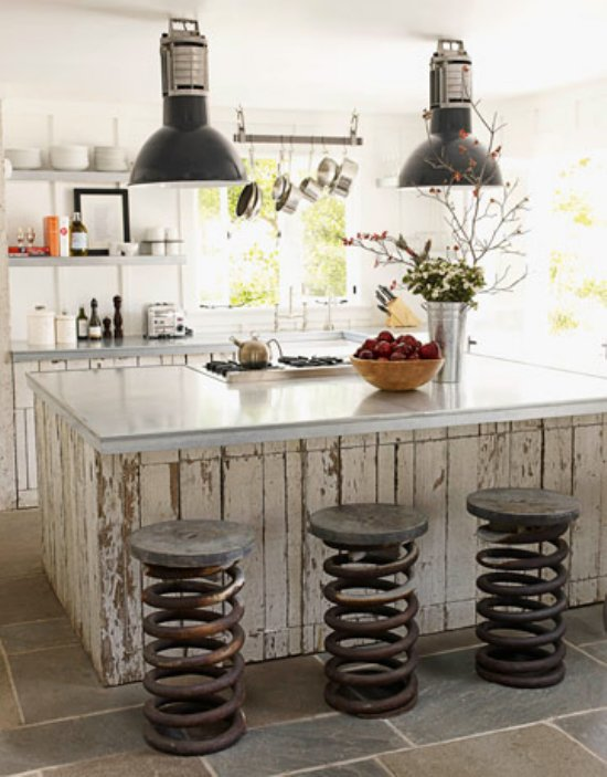 Fabulous Of Reclaimed Wood Kitchen Cabinets: Cool Rustic Modern Kitchen Interior Ideas With Rustic Reclaimed Wood Cabinet With Unique Seat From Car Spring And Pendant Lights And Tile Flooring Ideas