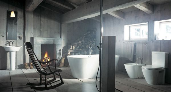 Beautiful and Relaxing Bathroom Design Ideas: Cool Rustic Modern Style Relaxing Bathroom Interior Design With Fire Place Bathtub Toilet Bowl Wooden Wall Rocking Chair Mirror Sink Window Wooden Flooring Ideas