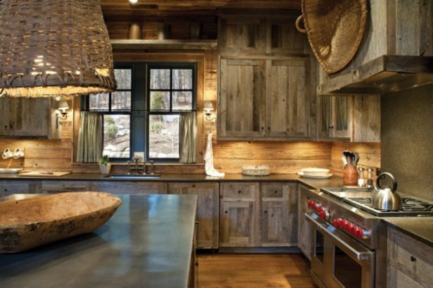 Fabulous Of Reclaimed Wood Kitchen Cabinets: Cool Rustic Reclaimed Wood Modern Kitchen Cabinetry Design With Unique Pendant Light With Lightings Window And Wooden Flooring Ideas ~ stevenwardhair.com Cabinets Inspiration