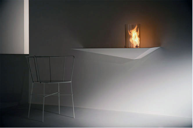 Awesome Stylish Small Modern Moveable Fireplace Design: Cool Samall Modern Fireplace Design On Inspiring Prisma Console And Unique Slim Steel Chair