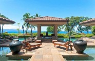 Tropical Gardens And Ultimate Villa Design In Maui, Hawaii: Thousand Waves Holiday Villa : Cool Sea Side Slate Floor Courtyard For Private Sunning Outdoor Design With Lounge Heated Lap Pool And Chinese Gazebo And Surrounding Beautiful Natural Landscape