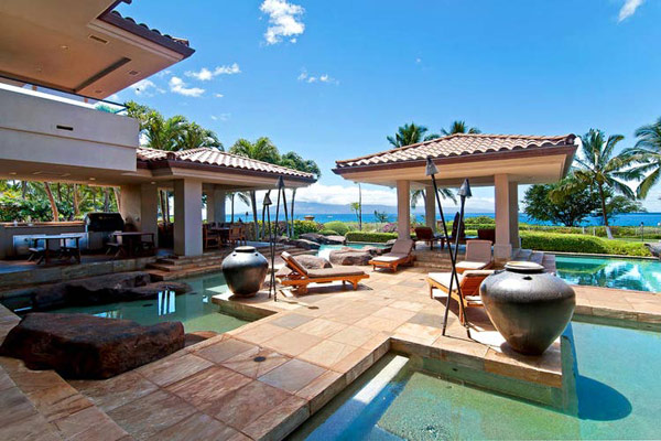 Tropical Gardens And Ultimate Villa Design In Maui, Hawaii: Thousand Waves Holiday Villa : Cool Sea Side Slate Floor Courtyard For Private Sunning Outdoor Design With Lounge Heated Lap Pool And Chinese Pavilions And Surrounding Beautiful Natural Landscape