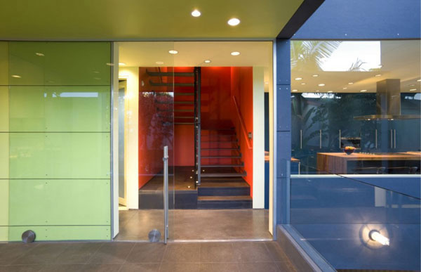 Hover House 3: Colorful Sustainable House in California: Cool Second Floor Hover House Interipr Design With Green Color Hallway Red Color Stair Space And Blu Color Kitchen And Tile Flooring Ideas