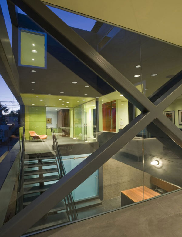 Hover House 3: Colorful Sustainable House in California: Cool Second Floor Of Hover House 3 Interior Decoration With Large Glass Wall Stair Ideas